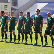 Bursaspor's players (Left to Right) Bekir Ozan HAS, Yavuz OZKAN, Ali TANDOGAN, Ozan IPEK, Kenny MILLER, Serdar AZIZ, Gokcek VEDERSON, Turgay BAHADIR, Stelian Giani KIRITA, Ibrahim OZTURK, Volkan SEN during their Turkish Superleague soccer match Kasimpasa between Bursaspor at the Recep Tayyip Erdogan stadium in Istanbul Turkey on Sunday 15May 2011. Photo by TURKPIX
