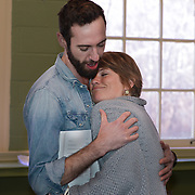 """Christopher Reiling as Seth and Christine Penney as Genifer in a rehearsal for Kent Stephen's """"Love and Faith and Other Dirty Words"""""""