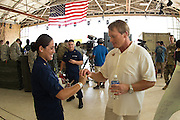 January 27 2016: Jon Gruden puts his Super Bowl ring on Alexandria Brooks for a photo during the Pro Bowl Draft at Wheeler Army Base on Oahu, HI. (Photo by Aric Becker/Icon Sportswire)