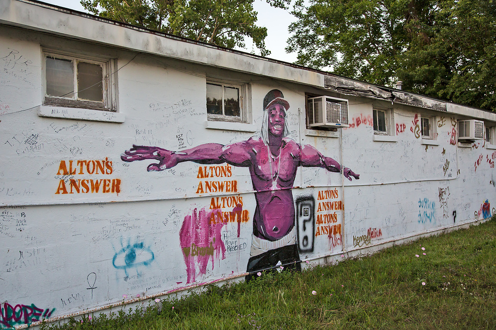 Mural across from the Trilple S Food Mart, the store where Alton Sterling got shot by police.