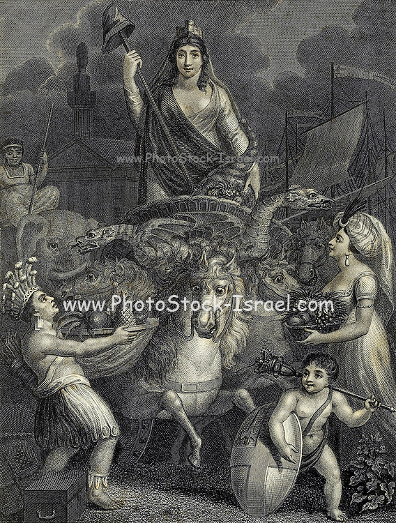 The City of London Allegorically portrayed with the Mural Crown on her head The cap of Liberty in one hand and the Cornucopia in the other. While America and Africa on her right and Asia on her left bring to her the tribute of the world In the foreground the shield of the City Arms and the Mace of Civic Authority. Copperplate engraving From the Encyclopaedia Londinensis or, Universal dictionary of arts, sciences, and literature; Volume XIII;  Edited by Wilkes, John. Published in London in 1815
