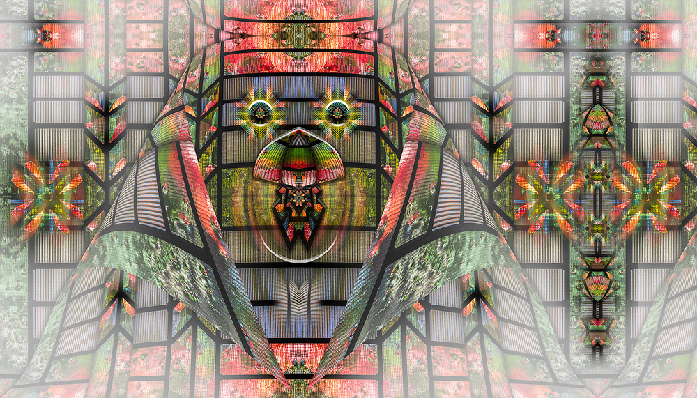 """""""Mardi Gras Mask"""", derivative image created from a photo of leaded glass, autmn, November, entry door to a private residence, Tacoma, Washington, USA"""
