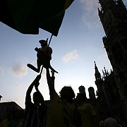 Soccer World Cup  , Australian Socceroos v Brazil in Munich , Germany.  Thousands of aussie and brazil fans party in the streets of Munich  .    Fairfax Picture by Vince Caligiuri, The Age Melbourne. Saturday 17th   June 2006.