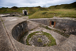 The derelict high angle gun battery, Portland, Dorset, England, UK.