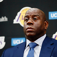EL SEGUNDO, CA - JUN 26: President of basketball operations Magic Johnson answers question from the media during an introductory press conference at the UCLA Health Training Center on June 26, 2018 in El Segundo, California.