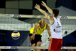 MANILA, May 6, 2018  Germany's Milan Sievers (L) vies with Russia's Petr Bakhnar during the men's gold medal match between Germany's Max-Jonas Karpa/Milan Sievers and Russia's Petr Bakhnar/Taras Myskiv at the FIVB Beach Volleyball World Tour in Manila, the Philippines, May 6, 2018. Germany's Max-Jonas Karpa/Milan Sievers won by 2-1 and claimed the title of the event. (Credit Image: © Rouelle Umali/Xinhua via ZUMA Wire)