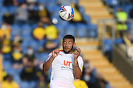 Blackpool forward Keshi Anderson (8) heads the ball during the EFL Sky Bet League 1 play off 1st leg match between Oxford United and Blackpool at the Kassam Stadium, Oxford, England on 18 May 2021.