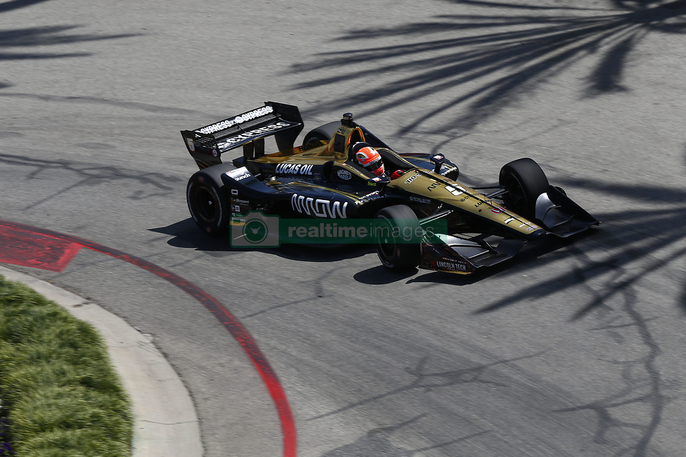 April 13, 2018 - Long Beach, California, United States of America - April 13, 2018 - Long Beach, California, USA: James Hinchcliffe (5) takes to the track to practice for the Toyota Grand Prix of Long Beach at Streets of Long Beach in Long Beach, California. (Credit Image: © Justin R. Noe Asp Inc/ASP via ZUMA Wire)