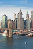 brooklyn bridge and manhattan - New York City in October 2008
