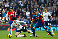 Luka Milivojevic of Crystal Palace (R) tackles Son Heung-min of Tottenham Hotspur (L). Premier league match, Tottenham Hotspur v Crystal Palace at Wembley Stadium in London on Sunday 5th November 2017.<br /> pic by Steffan Bowen, Andrew Orchard sports photography.