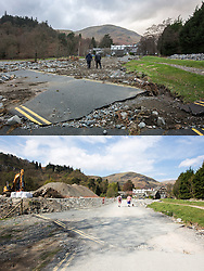© Licensed to London News Pictures. 11/05/2016. Glenridding UK. FIVE MONTH COMPARISON OF FLOODED VILLAGE OF GLENRIDDING. Top picture taken 10/12/2015 shows a road in Glenridding destroyed by storm Desmond. Bottom picture taken 10/05/2016 shows the same road in Glenridding five months after storm Desmond. The diggers are still in the village of Glenridding five months after storm Desmond hit the area & flooded the village three times last December. Residents of the village have become frustrated at the Environment Agency after it took almost four months for the agency to start work on new flood defences leaving the village looking like a building site during the normally busy tourist period essential to get the area back on it's feet. Photo credit: Andrew McCaren/LNP