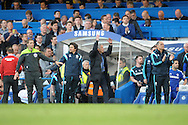 José Mourinho, the Chelsea Manager celebrates on the touchline .  Barclays Premier league match, Chelsea v Manchester Utd at Stamford Bridge Stadium in London on Saturday 18th April 2015.<br /> pic by John Patrick Fletcher, Andrew Orchard sports photography.