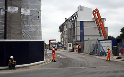 23 June 2017 Tottenham Hotspur FC - demolition of White Hart Lane stadium;<br /> half of the South Stand is the only part of the old stadium now standing.<br /> Photo: Mark Leech.
