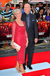 Red 2 UK film premiere.<br /> Dame Helen Mirren with Bruce Willis during the premiere of the sequel to 2010's graphic novel adaption, about a group of retired assassins. <br /> Empire Leicester Square<br /> London, United Kingdom<br /> Monday, 22nd July 2013<br /> Picture by Nils Jorgensen / i-Images