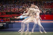 FRANCE. Paris, Ile-de-France. January 18th, 2014. Reenal Gareev of Russia competes during the round of 16 against Daniele Garozzo of Italy and subsequently being defeated (15-4) during the Challenge International de Paris fencing championship.