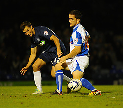 Bristol Rovers' Andy Bond and Southend United's Will Atkinson - Photo mandatory by-line: Seb Daly/JMP - Tel: Mobile: 07966 386802 27/09/2013 - SPORT - FOOTBALL - Roots Hall - Southend - Southend United V Bristol Rovers - Sky Bet League Two