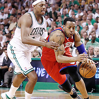 26 May 2012: Philadelphia Sixers small forward Andre Iguodala (9) drives past Boston Celtics small forward Paul Pierce (34) during the Boston Celtics 85-75 victory over the Philadelphia Sixer, in Game 7 of the Eastern Conference semifinals playoff series, at the TD Banknorth Garden, Boston, Massachusetts, USA.