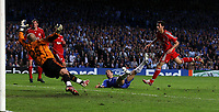 Photo: Paul Thomas.<br /> Chelsea v Liverpool. UEFA Champions League. Semi Final, 1st Leg. 25/04/2007.<br /> <br /> Joe Cole (Ground) of Chelsea scores past Liverpool keeper Jose Reina.