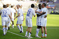 FOOTBALL - FRENCH CHAMPIONSHIP 2009/2010 - L1 - TOULOUSE FC v AJ AUXERRE - 25/04/2010 - PHOTO JEAN MARIE HERVIO / DPPI - JOY AUXERRE AT THE END OF THE MATCH