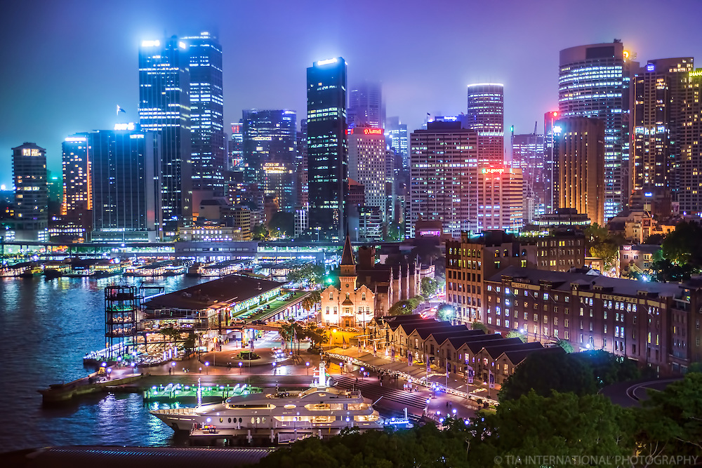 Foggy Sydney Skyline from Harbour Bridge