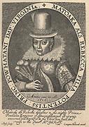 'Pocahontas (c1595-1617), Native American princess, daughter of Powahatan. Saved life English adventurer John Smith. Married Englisman, visited England 1616. Died of Smallpox 1617 on ship waiting to sail to Virginia. Engraving 1624.'