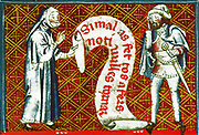 Scene from the 14th Century, illustrated manuscript the Breviari d'amor. It illustrates the seven Acts of Mercy. Here  is shown admonishing a sinner.