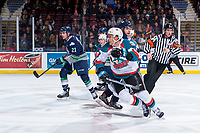 KELOWNA, CANADA - JANUARY 5: Matthew Wedman #21 of the Seattle Thunderbirds and Carsen Twarynski #18 of the Kelowna Rockets skate for the puck after the face off on January 5, 2017 at Prospera Place in Kelowna, British Columbia, Canada.  (Photo by Marissa Baecker/Shoot the Breeze)  *** Local Caption ***