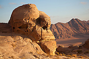 A sandstone rock formation resembling a monkey's face in Wadi Rum, Jordan.