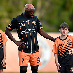 BRISBANE, AUSTRALIA - NOVEMBER 7: Abraham Yango  of Eastern Suburbs enters the field during the friendly match between Eastern Suburbs FC and Brisbane Roar FC at Heath Park on November 7, 2020 in Brisbane, Australia. (Photo by Patrick Kearney)