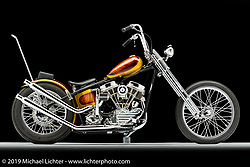 Gold Pan, a 1955 gold flake Panhead, built by Mondo of Reno, NV. Photographed by Michael Lichter in Sacramento, CA January 13, 2018. ©2018 Michael Lichter
