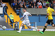 Bury's Danny Nardiello makes another run towards the box. Skybet football league two match, Bury v Burton Albion at the JD Stadium, Gigg Lane in Bury, Lancs on Saturday 20th Sept 2014.<br /> pic by David Richards,  Andrew Orchard sports photography.