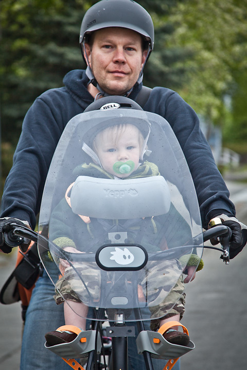 Eighteen month old, Julian Cardinal and his father, Sean, near City Market, Anchorage
