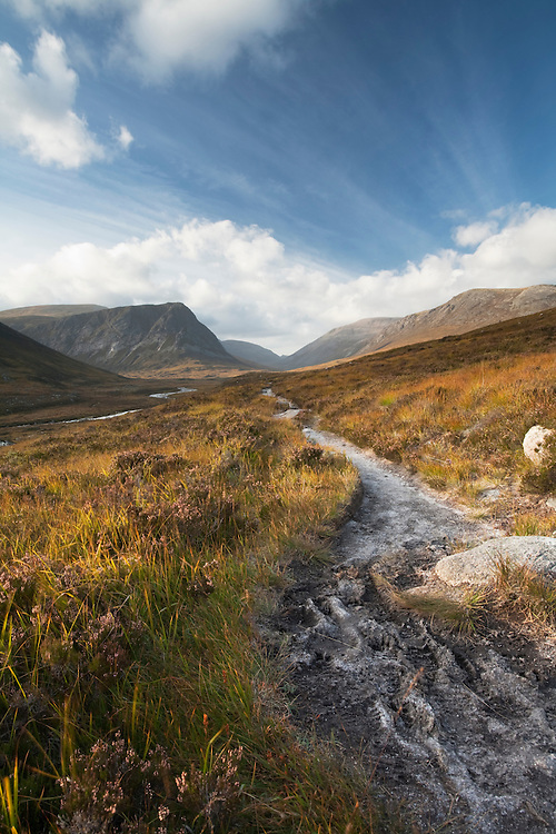 Footpath leading through Glen Dee with Ben MacDui in the background, Scottish Highlands, Uk