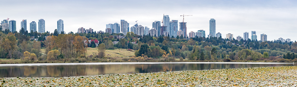 Burnaby's skyline of apartment, commercial, and condo towers above Deer Lake on an early fall day.  Photographed from Deer Lake Park in Burnaby, British Columbia, Canada