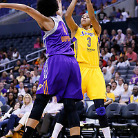 24 July 2014: Los Angeles Sparks forward/center Candace Parker (3) takes a jump shot over Phoenix Mercury forward Candice Dupree (4) during the Phoenix Mercury 93-73 victory over the Los Angeles Sparks, at the Staples Center, Los Angeles, California, USA.
