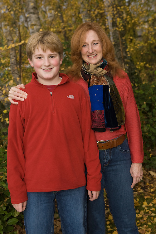 United States, Washington, Bellevue, mother and son (age 10) MR
