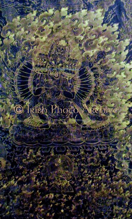 Tibetan Silk picture illustrating a demon God, 18th Century