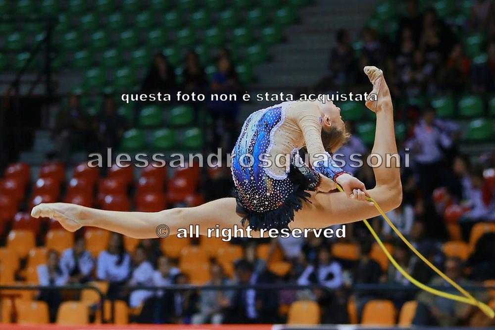 Sophia Nocentini atleta della Società Terranuova durante la seconda prova del Campionato Italiano di Ginnastica Ritmica.<br /> La gara si è svolta a Desio il 31 ottobre 2015