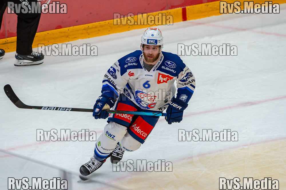 LAUSANNE, SWITZERLAND - OCTOBER 01: Yannick Weber #6 of ZSC Lions in action during the Swiss National League game between Lausanne HC and ZSC Lions at Vaudoise Arena on October 1, 2021 in Lausanne, Switzerland. (Photo by Robert Hradil/RvS.Media)