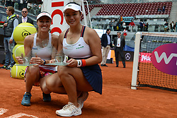 May 13, 2017 - Madrid, Spain - MARTINA HINGIS of Switzerland and YUNG-JAN CHAN of Tapei pose with their trophies after winning the doubles title in the Mutua Madrid Open tennis tournament. (Credit Image: © Christopher Levy via ZUMA Wire)