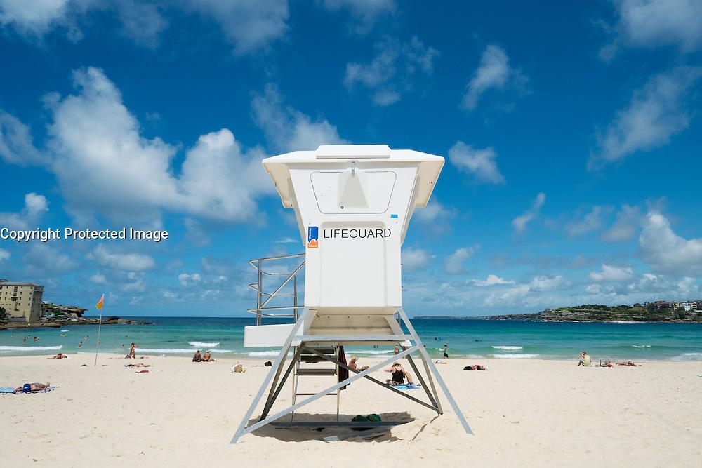 Lifeguard box on Bondi Beach in Sydney New South Wales in Australia