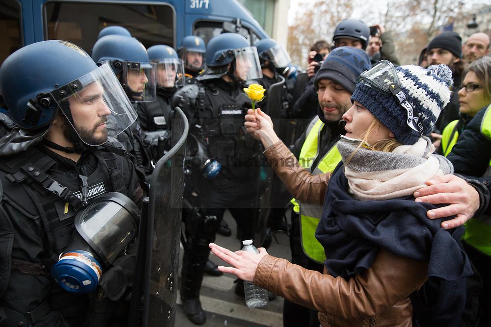 """Paris, France - 08.12.2018<br /> <br /> A demonstrator hands a flower to a policeman during the Yellow Vests protests at Champs Elysees. Accompanied by heavy riots and more than 1000 arrests, tens of thousands protest on the fourth day of protest of the Yellow Vests (""""Gilet Jaune"""") in Paris.<br /> <br /> Eine Demonstrantin reicht einem Polizisten eine Blume waehrend des Gelbe Westen Protest auf der Champs Elysees. Begleitet von schweren Ausschreitungen und mehr als 1000 Festnahmen protestieren zehntausende beim vierten Protesttag der Gelben Westen (""""Gilet Jaune"""") in Paris.<br /> <br /> Photo: Bjoern Kietzmann"""