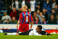 Fotball<br /> Premier League England 2004/2005<br /> Foto: BPI/Digitalsport<br /> NORWAY ONLY<br /> <br /> Crystal Palace v Fulham<br /> FA Barclays Premiership. 04/10/2004.<br /> <br /> Ian Pearce lays grounded after bringing down Andy Johnson