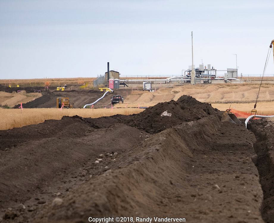 Photo Randy Vanderveen<br /> Grande Prairie, Alberta<br /> 2018-09-26<br /> A new pipeline is laid from a well site north of LaGlace. While large pipelines like the TransMountain and Keystone are in the news, in reality hundreds of kilometres of new pipelines are laid each year in Western Canada bringing product from well sites to gas plants, compressor stations or storage facilities.