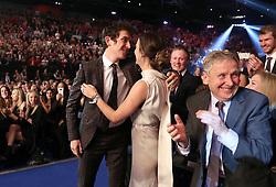 Geraint Thomas celebrates with his wife Sara Elen Thomas after winning the BBC Sports Personality of the Year award during the BBC Sports Personality of the Year 2018 at Birmingham Genting Arena.