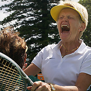 Kerry Ballard, Australia, (facing) celebrates with team mate Carol Campling after her victory against Nicole Hesse-Cazaux, France secured them victory in the final of the Alice Marble Cup match during the 2009 ITF Super-Seniors World Team and Individual Championships at Perth, Western Australia, between 2-15th November, 2009.
