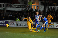 Newport's Conor Washington is brought down in penalty area by Jack Baldwin but no penalty is given. Skybet football league two match, Newport county v Hartlepool Utd at Rodney Parade in Newport , South Wales on Friday 15th November 2013. pic by Andrew Orchard, Andrew Orchard sports photography,