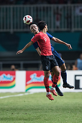 BOGOR, Sept. 1, 2018  Hwang Hee Chan (R) of South Korea vies with Sugioka Daiki of Japan during the men's football final between South Korea and Japan at the 18th Asian Games in Bogor, Indonesia on Sept. 1, 2018. (Credit Image: © Wu Zhuang/Xinhua via ZUMA Wire)