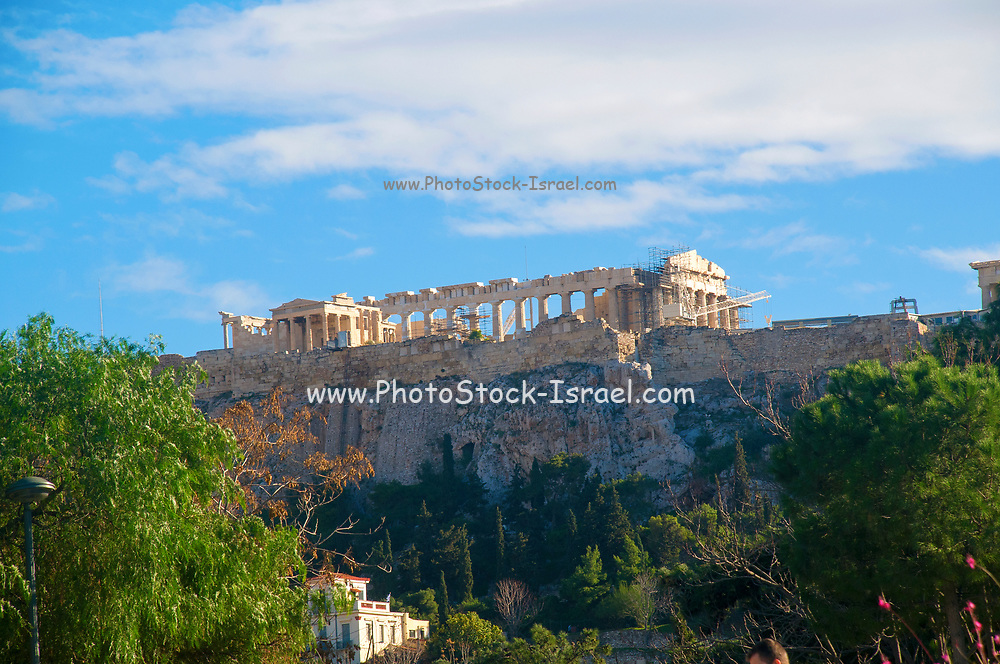 Greece, Athens, Acropolis hill as seen from the west