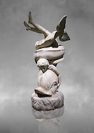 2nd century AD Roman sculpture of Eros with a dolphin, inv no 6357, The Farnese collection, Naples Museum of Archaeology, Italy ..<br /> <br /> If you prefer to buy from our ALAMY STOCK LIBRARY page at https://www.alamy.com/portfolio/paul-williams-funkystock/greco-roman-sculptures.html . Type -    Naples    - into LOWER SEARCH WITHIN GALLERY box - Refine search by adding a subject, place, background colour, etc.<br /> <br /> Visit our ROMAN WORLD PHOTO COLLECTIONS for more photos to download or buy as wall art prints https://funkystock.photoshelter.com/gallery-collection/The-Romans-Art-Artefacts-Antiquities-Historic-Sites-Pictures-Images/C0000r2uLJJo9_s0